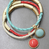 Pretty Leather and Gold Bracelet-Coral/Turquoise