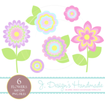 Pretty Summer Flower Clipart Set