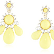 Lucite and Crystal Teardrop Yellow Beads Earrings