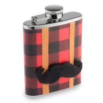 Lumberjack Mustache Flannel Hip Flask