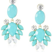 Stunning Turquoise-Color and Crystal Earrings