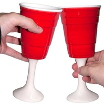 red cup wine glasses - set of 2
