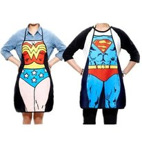 Superman + Wonder Woman Character Apron for Kitchen Cooking (Couple)