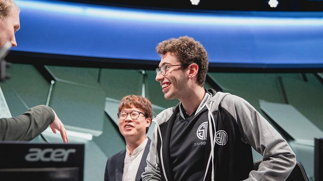 TSM's Mithy shares a joke with his team after their win (LoL Esports Photos, Flickr)
