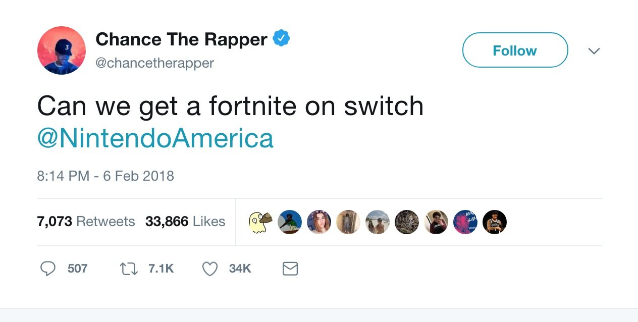 Chance the Rapper wants Fortnite on Switch