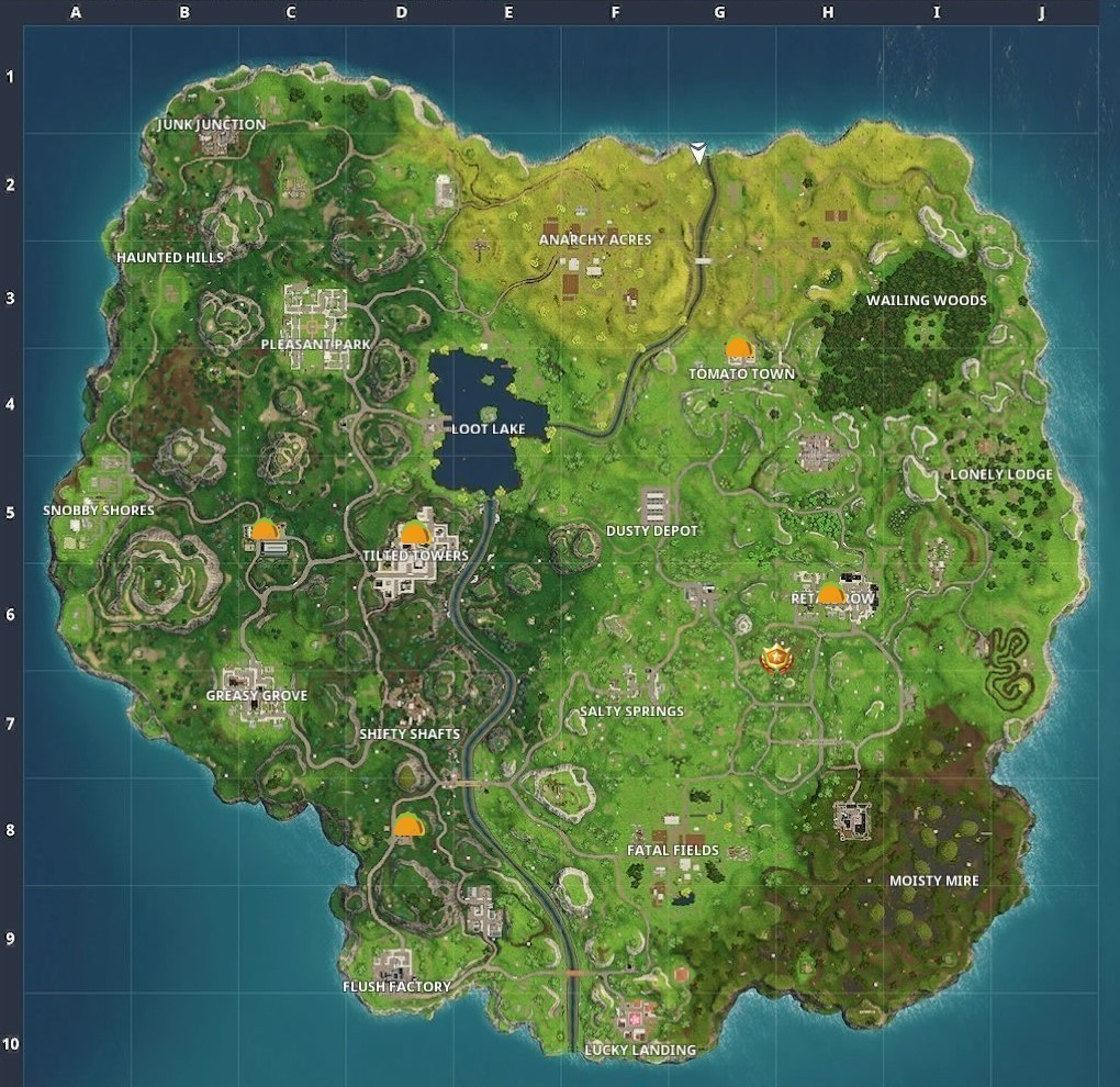 Fortnite week 9 visit different taco shop locations for Chair in fortnite