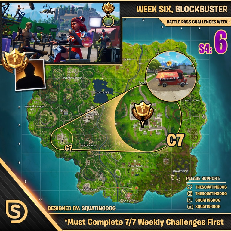 Fortnite Season 4 Week 6 Challenges Hidden Blockbuster