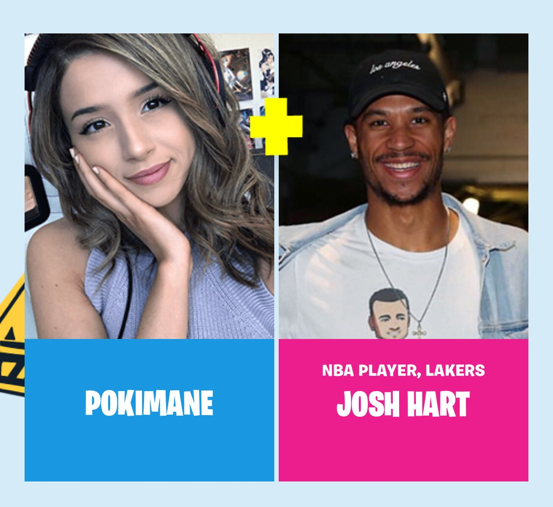 Josh Hart and his Fortnite Pro-Am teammate streamer and YouTuber Pokimane. (Source: Epic Games)