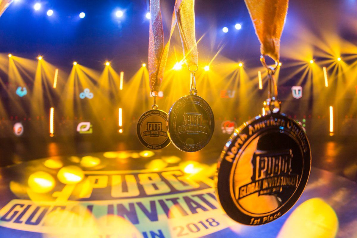 The medals awarded to the winners of the North American PUBG Global Invitational Qualifer. (Source: PUBG Esports)