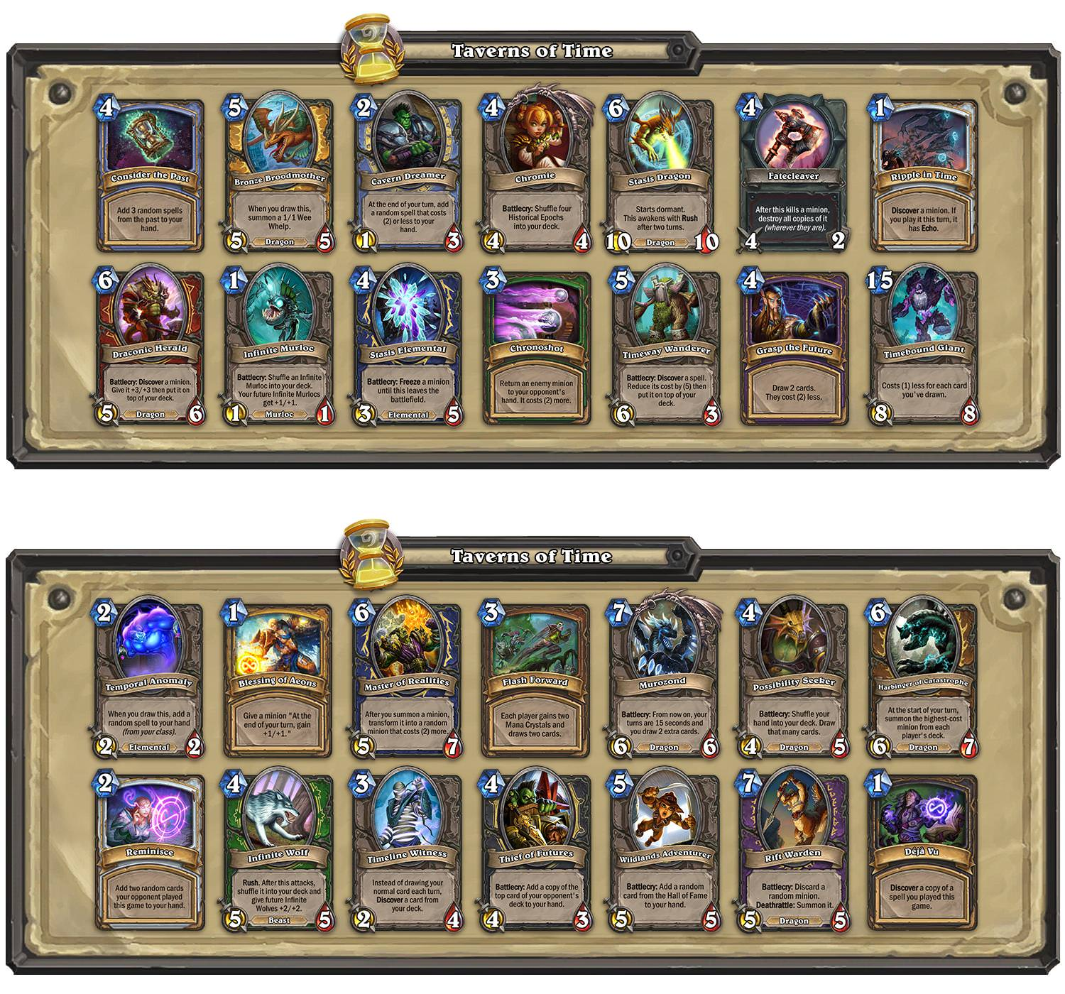 Hearthstone: Hearthstone Taverns Of Time Adds New Arena Only Cards