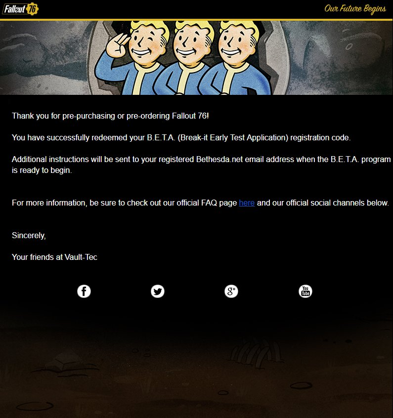 How to Redeem Fallout 76 Beta Code