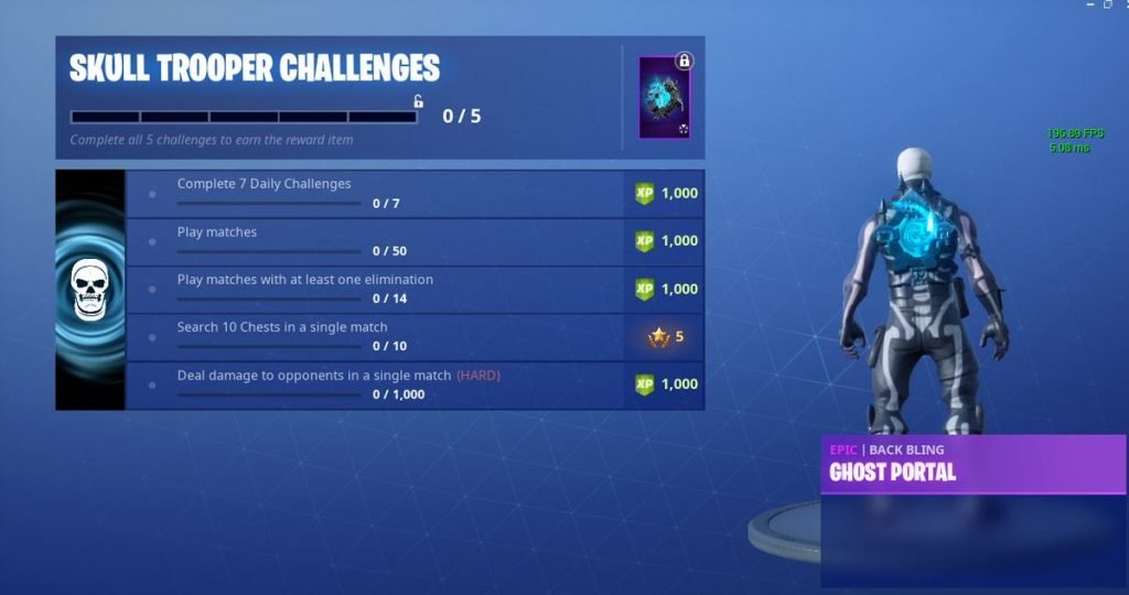 it ll take a while to unlock the ghost portal back bling but it ll be worth it - fortnite skull ranger png