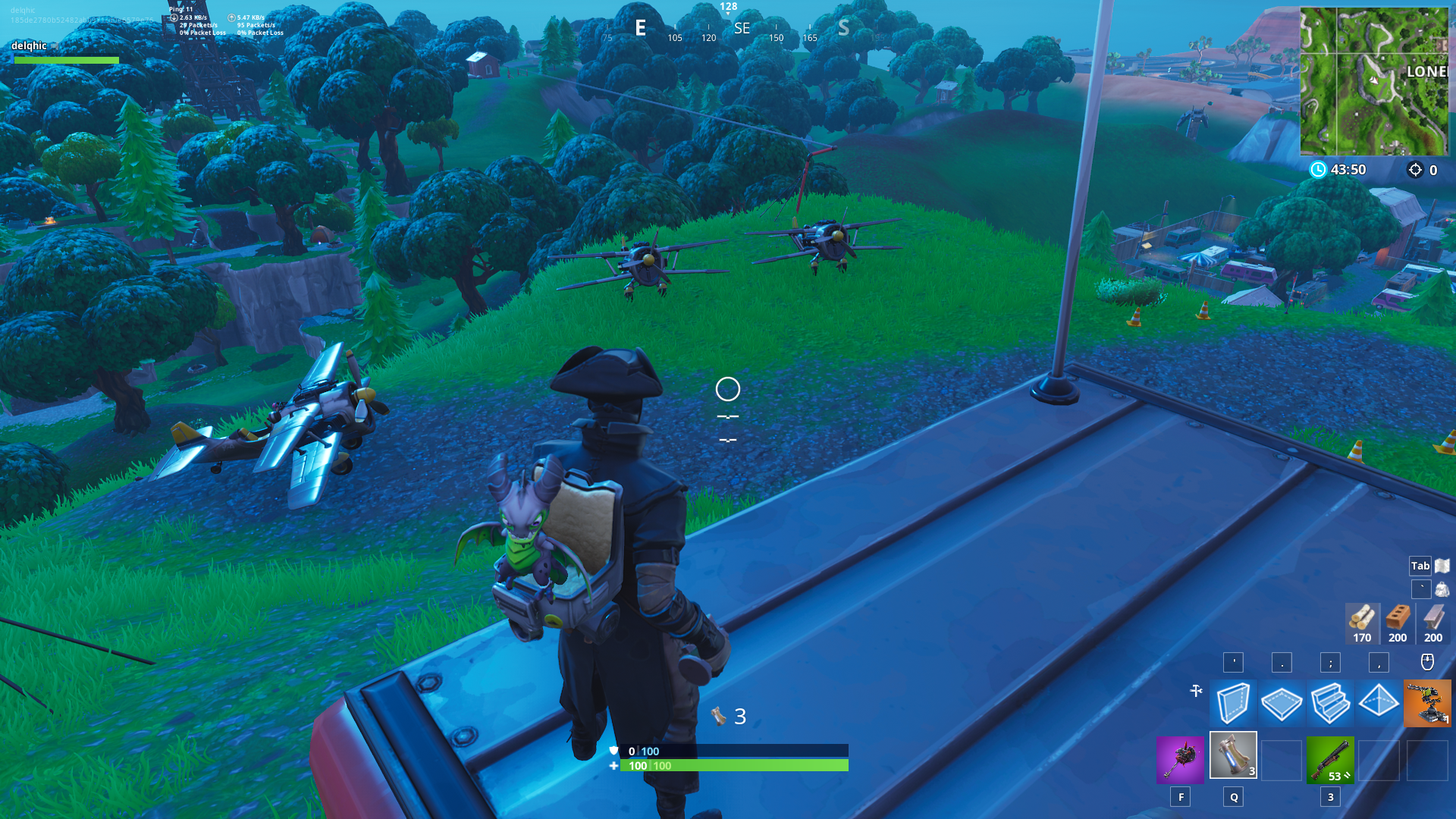 Fortnite Plane Spawn Location - Hill west of Lonely Lodge