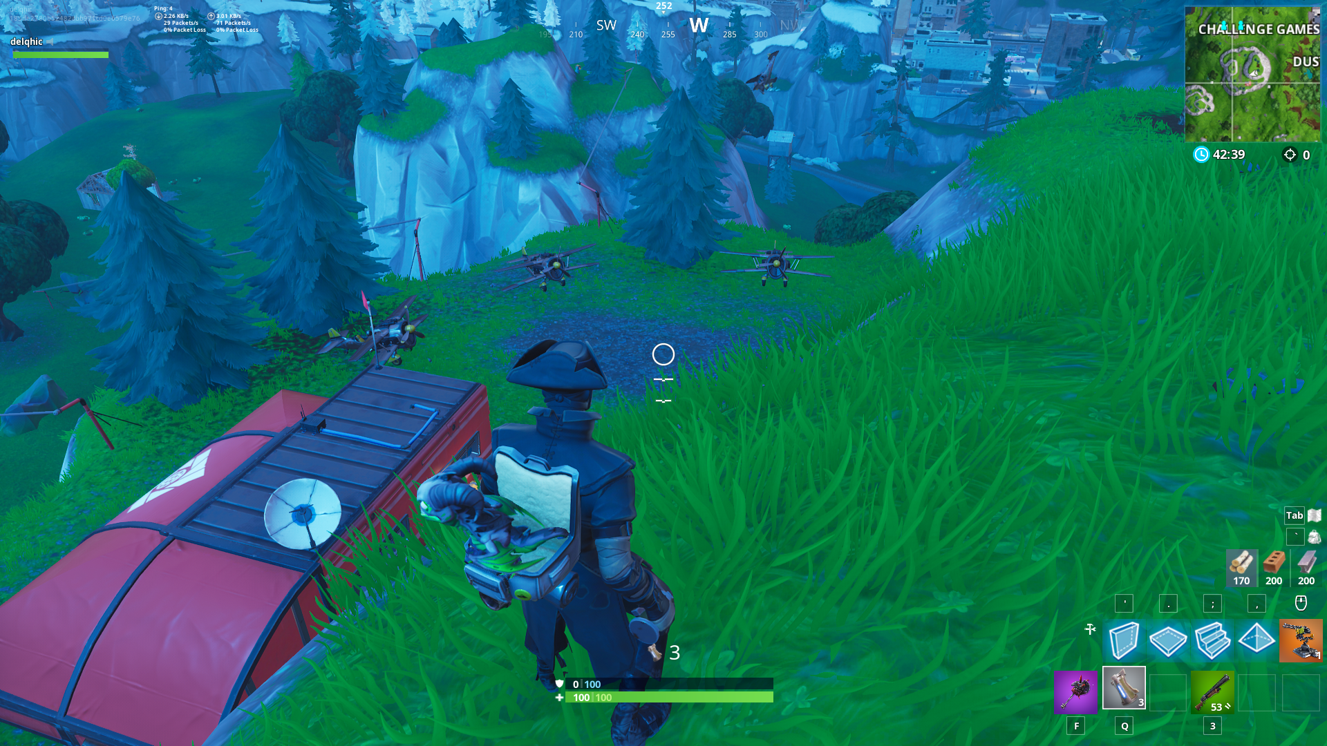 Fortnite Plane Spawn Location - Mountain west of Dusty Divot