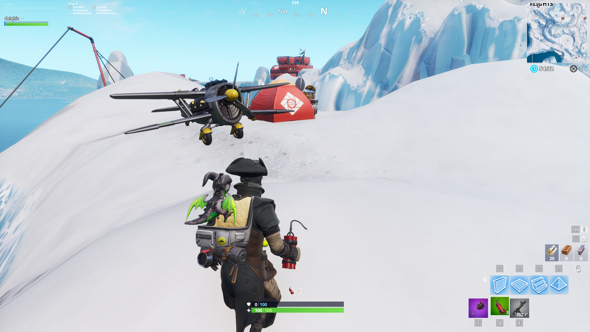 Fortnite Plane Spawn Location - Hill south of Frosty Flights