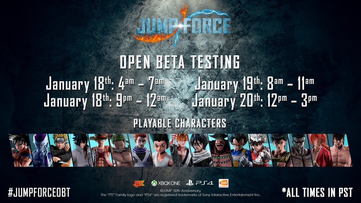 Jump Force Open Beta Times And Characters Guide
