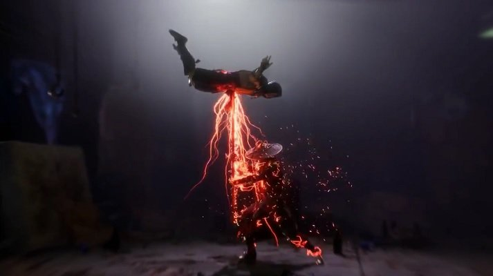 Raiden and a lightning pole-like object are always a good team when it's time for a fatality.