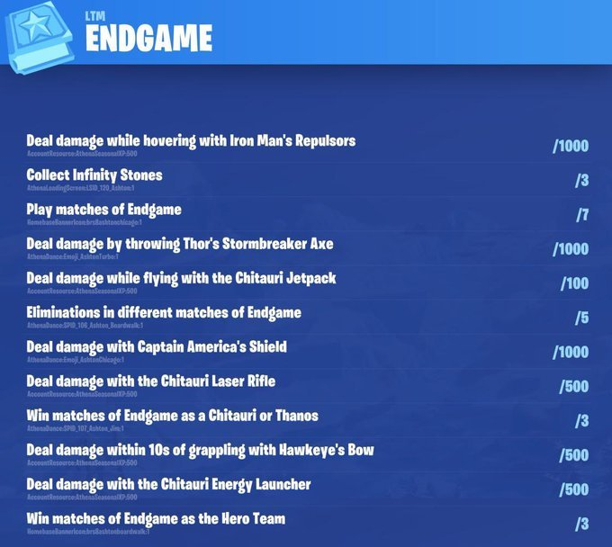 Fortnite Avengers Endgame Challenges