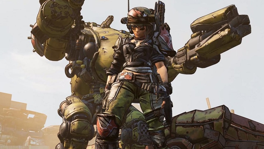 Even the character on display at E3 stressed community. Not only can Moze call down a mech, but with a certain ability, allies can ride and use a mounted turret on it.