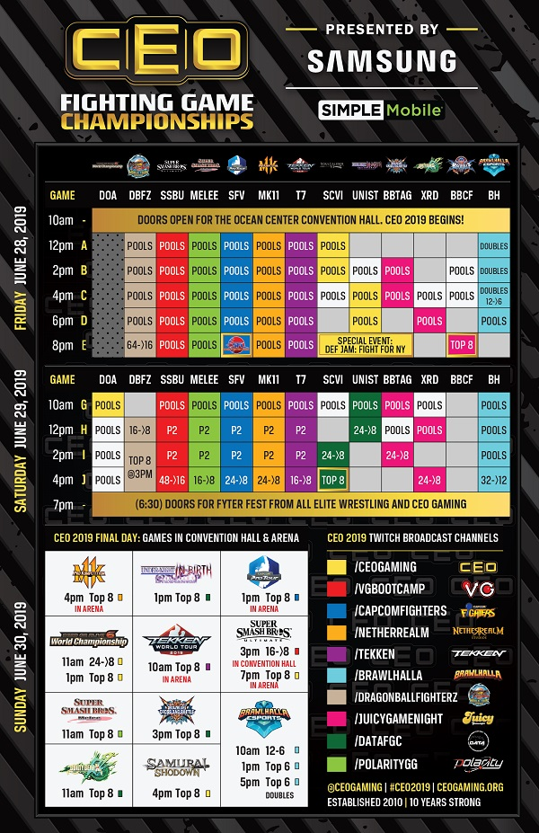 Find your favorite game in this handy watch guide and links to the CEO 2019 streams in the tweet below.