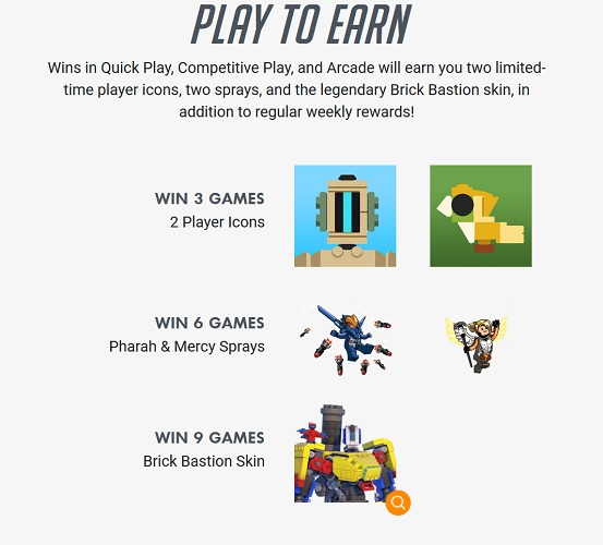 The above graphic shows exactly how many wins you need to unlock each tier of rewards in the Bastion's Brick Challenge, including the Legendary Overwatch Lego Bastion skin.