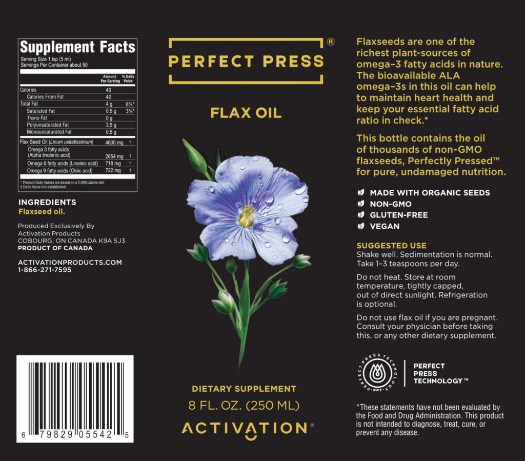 Picture of Flax Oil Perfect Press - Dietary Supplement 8 fl. oz (250ml)