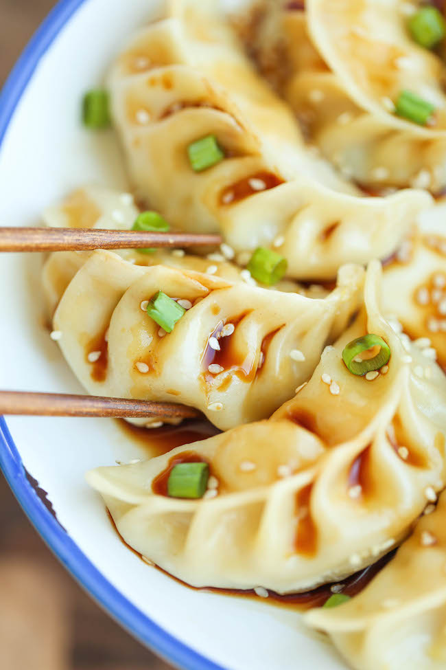 Easy Asian Potstickers - filled with ground pork, veggies, and oyster  sauce. So