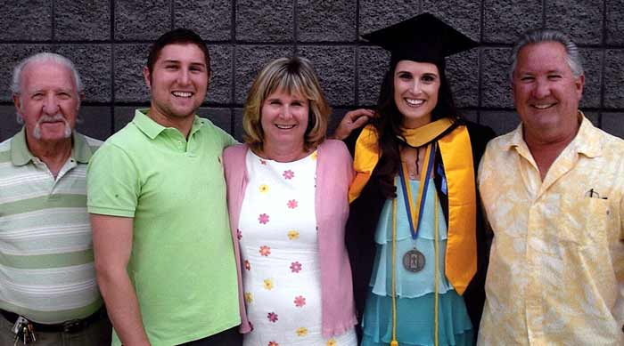 Laura Brown with her family at graduation.
