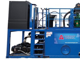 American Augers DD-110 directional drill and M200D drilling fluid recycling system.