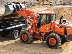 "The Doosan DL250-5 wheel loaders feature improvements from the ""dash-3"" iteration."