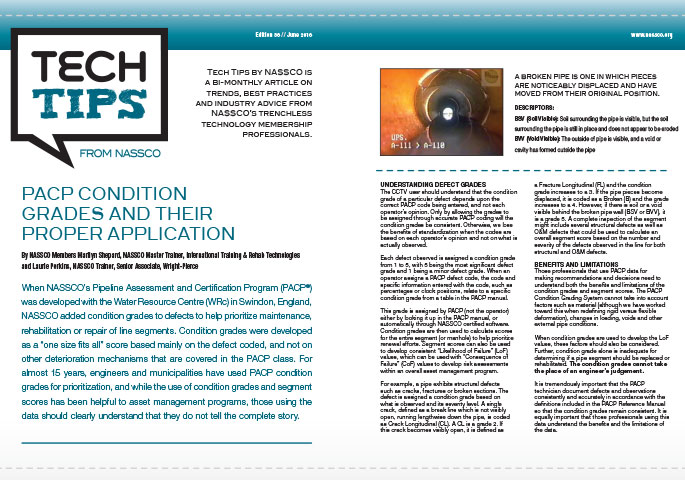 Tech Tips: PACP CONDITION GRADES AND THEIR PROPER APPLICATION