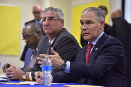 Administrator Pruitt speaking at a meeting in East Chicago, Indiana.  Photo courtesy of the EPA.