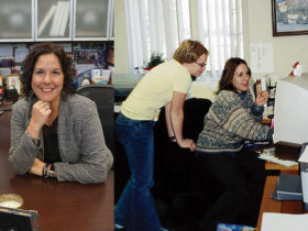 Right: Heather Myers (sitting) working on a computer when she first started working part-time for NASSCO in 2001. Her office was in the attic of the executive director's home.