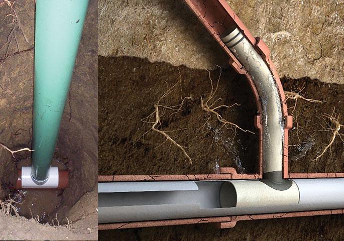 Left: ASTM F3097 Compliant Cleanout; Right: ASTM F2561 Compliant Connection Liner