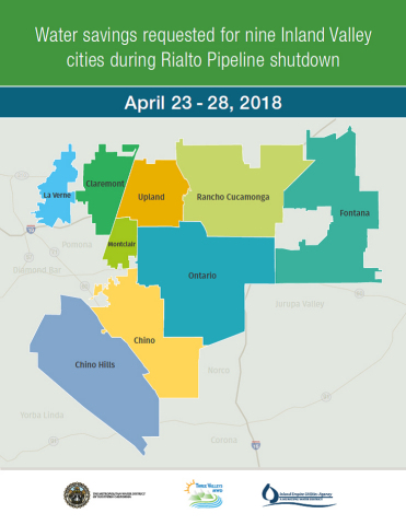 A map showing how much Southern California cities should reduce water usage during scheduled pipeline repairs this month. Photo courtesy of the Metropolitan Water District of Southern California, the Inland Empire Utilities Agency,  and the Three Valleys Municipal Water District.