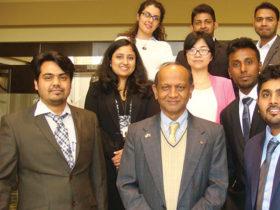 Vipulanandan (middle) with CIGMAT graduate students;