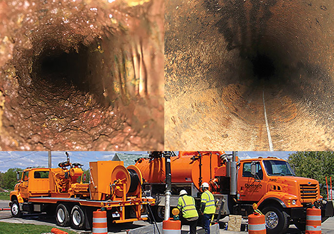 Top Left: Heavy pipe deposits in water main. Top right: After-cleaning to remove pipe deposits and debris. Bottom left: After-preparation that removed remaining deposits, profiled and dried pipe surfaces. Bottom right: Workers at a job site prepare a water main for CIPP lining using water jetting. (Photo courtesy of Doetsch Environmental Services)