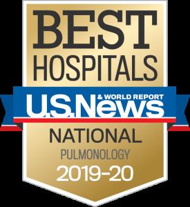 US News Best Hospitals Badge Pulmonology 2019-20