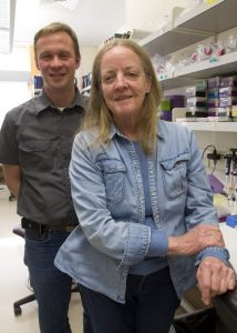 Thomas Delong and Katie Haskins in their lab in the Barbara Davis Center for Childhood Diabetes.