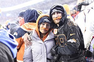 29 broncos patriots game who helped uchealth and the team break the guinness world record for wearing fake moustaches at one time