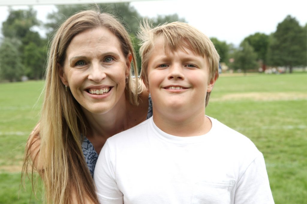 Elisa Leaf Sneider with her son, Will. Photo by Kati Blocker, UCHealth.