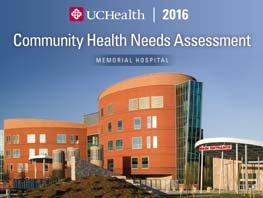 A portrait of a hospital on the cover of a report about community health needs.