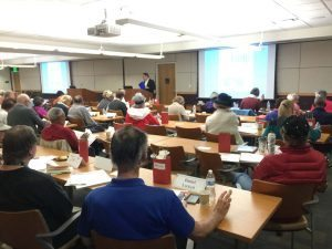 A large group attended the LEAP seminar for stroke survivors and caregivers at UCH in the spring.
