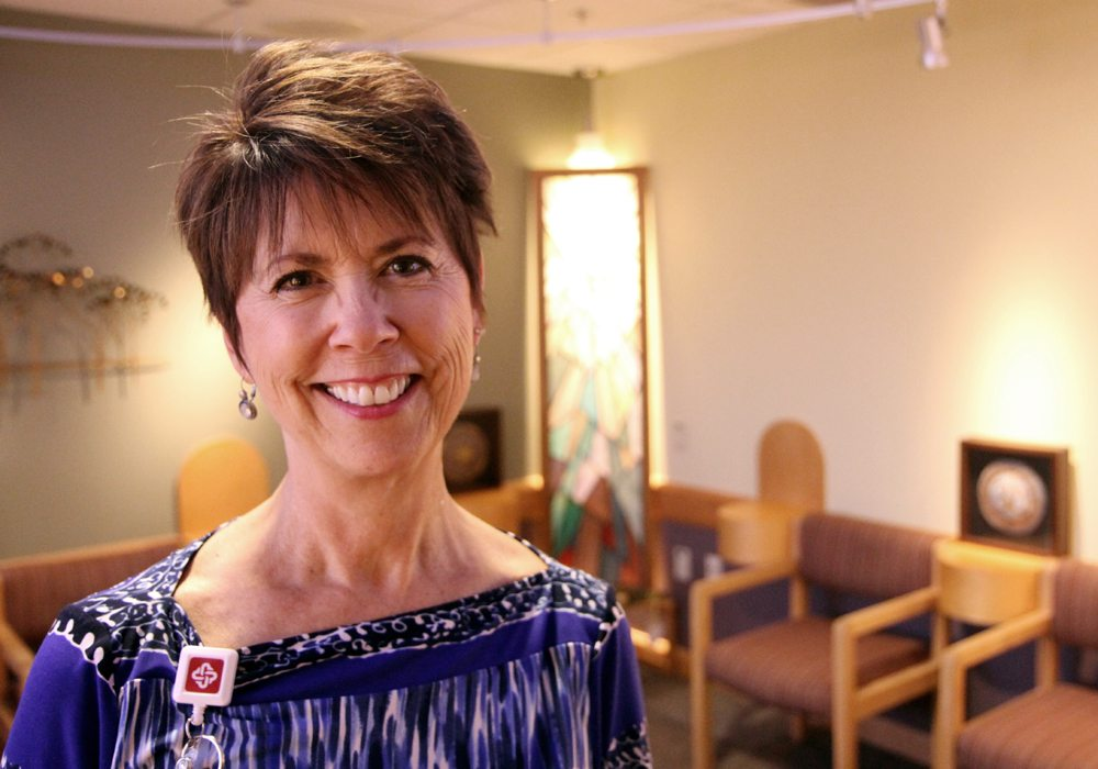 Chaplain Maria McLain Cox, pictured here, recently replaced longtime Poudre Valley Hospital Chaplain Mike Lundgren, who retired in July 2016. Photo by Kati Blocker, UCHealth.