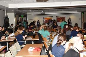 UCH employees fill a room in the Bruce Schroffel Conference Center before a presentation on human trafficking Dec. 7.