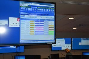 TeleTracking board shows in real time admissions to each hospital and bed status.