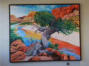 painting of the river in a canyon and a bike sitting next to a tree by that river.