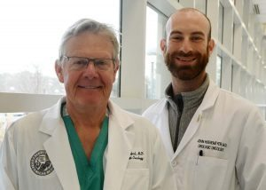 E. David Crawford, MD (left), with Urology Research Fellow John Hoenemeyer, MD.