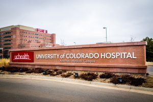 This is a photo of a UCHealth University of Colorado Hospital sign.