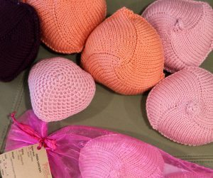 Knitted Knockers are shown in this photo.